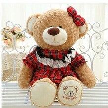 cute plush brown girl teddy bear toy check skirt teddy bear doll lovely bear toy gift doll about 80cm