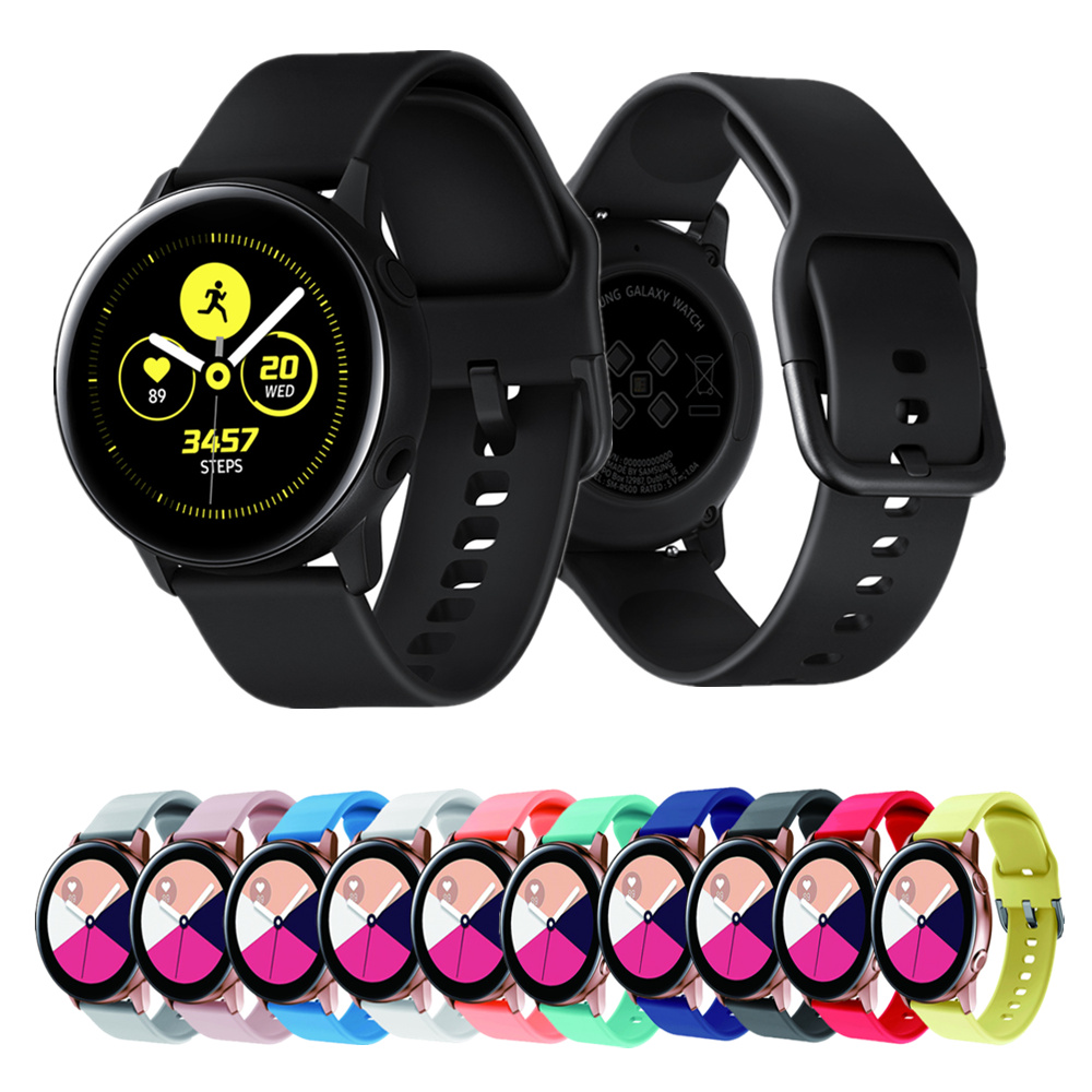 20mm For Samsung Galaxy Watch Active Watch Band Silicone Bracelet For Huami Amazfit Bip Strap For Garmin Vivoactive3 Accessories