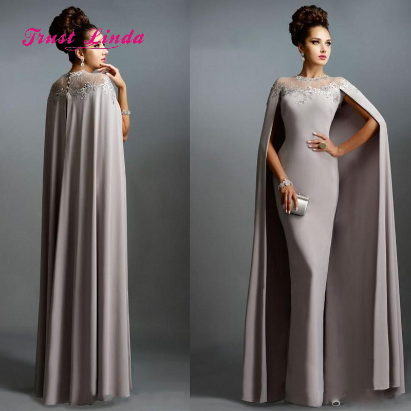US $91.76 14% OFF|Elegant Plus Size Mother Of The Bride Dresses Illusion  Neck Floor Length Mother Of Bride Evening Long Dresses With Cape-in Mother  of ...