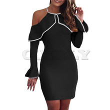 Women Dress Off Shoulder Mini Ladies Party Stretch Evening Bodycon Sexy elbise robe femme CUERLY