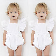 4386b99861af Cute White Baby Girl Romper Princess Playsuit Top Jumpsuit Outfitsve Newborn  Infant Flower Sleeve Summer Kids One-Pieces Clothes
