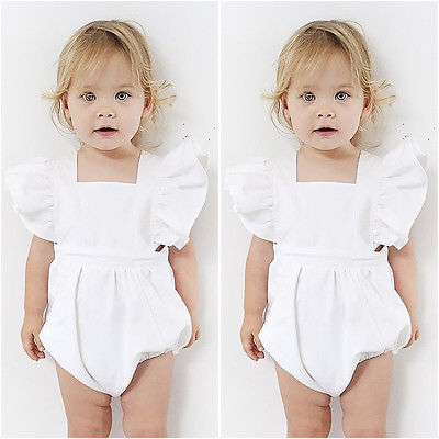 Cute White Baby Girl   Romper   Princess Playsuit Top Jumpsuit Outfitsve Newborn Infant Flower Sleeve Summer Kids One-Pieces Clothes