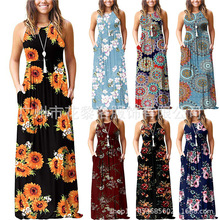 2019 Summer New Style European And American Women Sleeveless Vest Printed Dress Long
