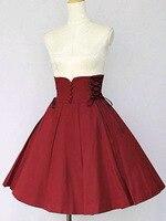 High Quality Red Cotton Girls Women Slim Cut Empire Waist Gothic Lolita Skirt Can be Custom