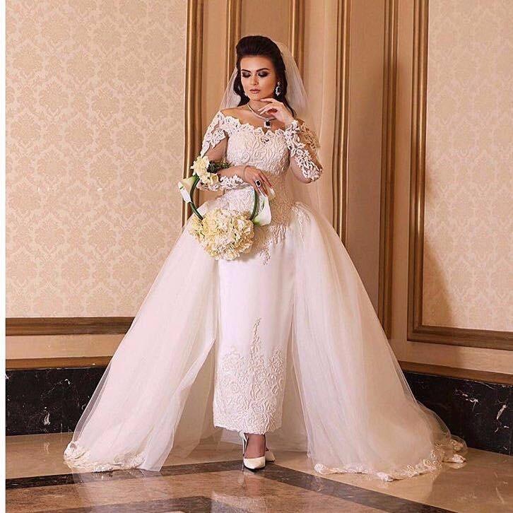 2017 bridal gown off the shoulder long sleeve ankle length wedding dresses with detachable train vestidos de noiva