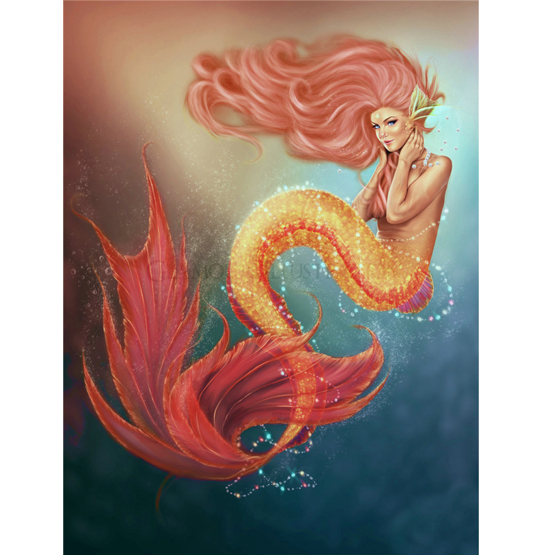 2016 fashion Diamond Embroidery Characters Mermaid Needlework Rhinestone mosaic diamond Cross Stitch Diamond Painting k443