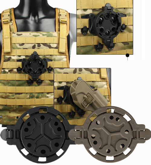 Tactical Black Tan Color 360 Degree Angles Holster Platforms For Outdoor Sport OS7-0047