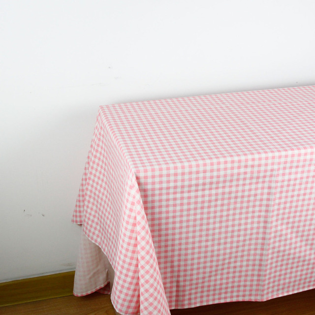 150cm X 1 Meter Pink Check Print Patchwork Linen Cotton Fabric Cloth DIY Table  Cloth Collection