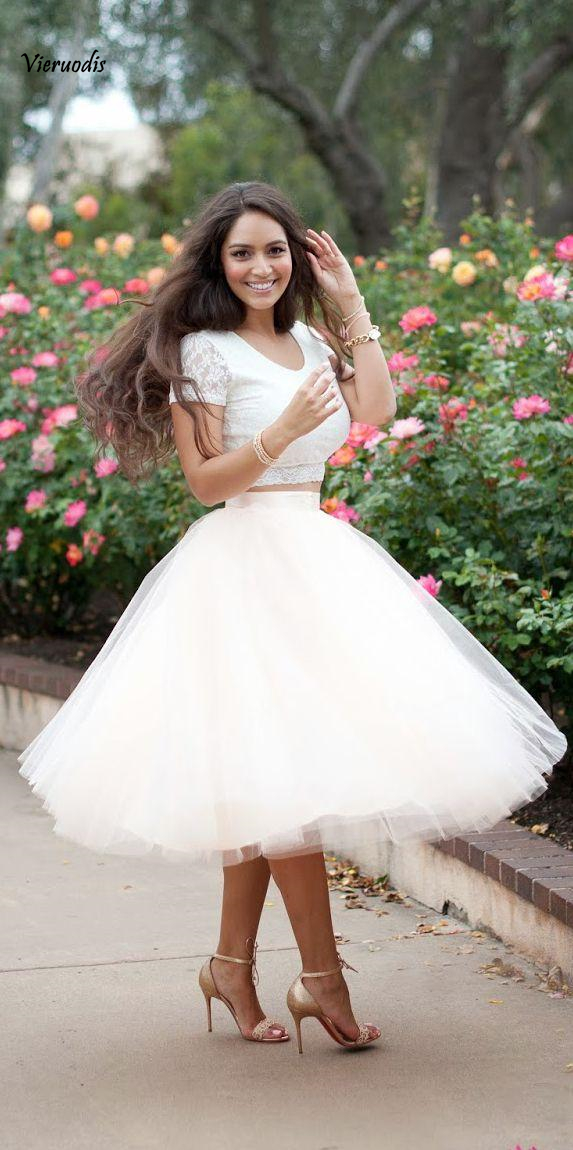2019 White Tulle Tutu Skirts Adult Women Vintage Summer Adult Women Princess Lady White Knee-Length Cocktail Dresses