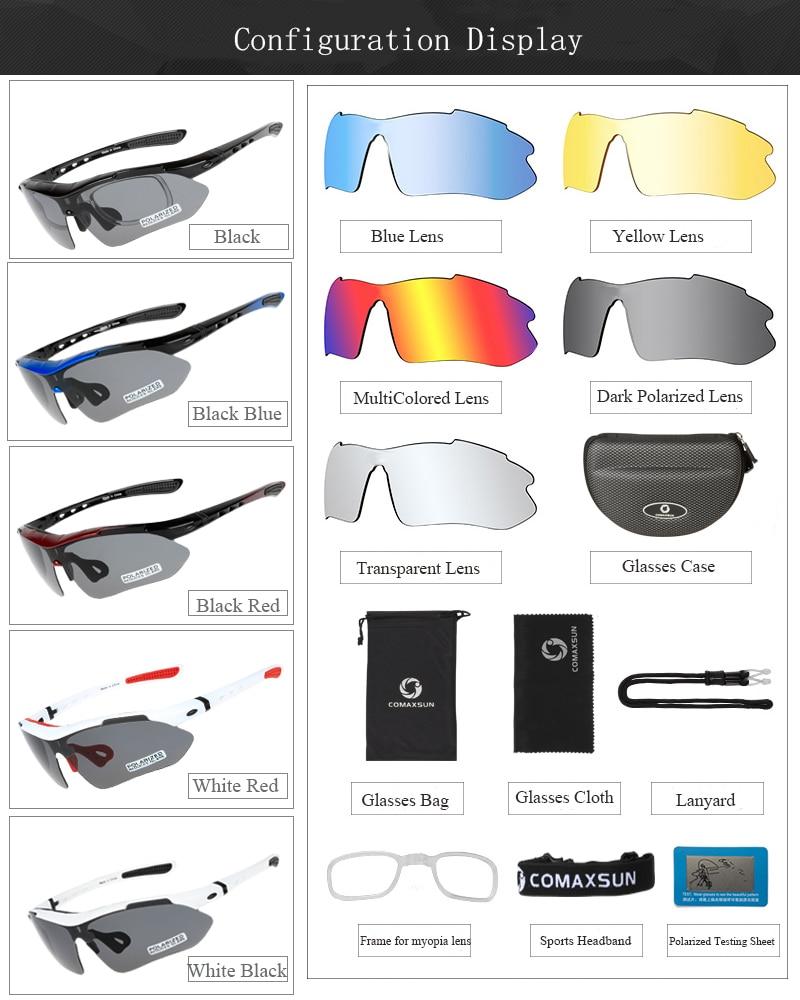 HTB1rH9baznuK1RkSmFPq6AuzFXai COMAXSUN Professional Polarized Cycling Glasses Bike Goggles Outdoor Sports Bicycle Sunglasses UV 400 With 5 Lens TR90 2 Style