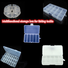 Different size High Strength Transparent Plastic Fishing tackle Box with 5,8,10,15,24 Compartments Fishing Lure Tackle Boxs