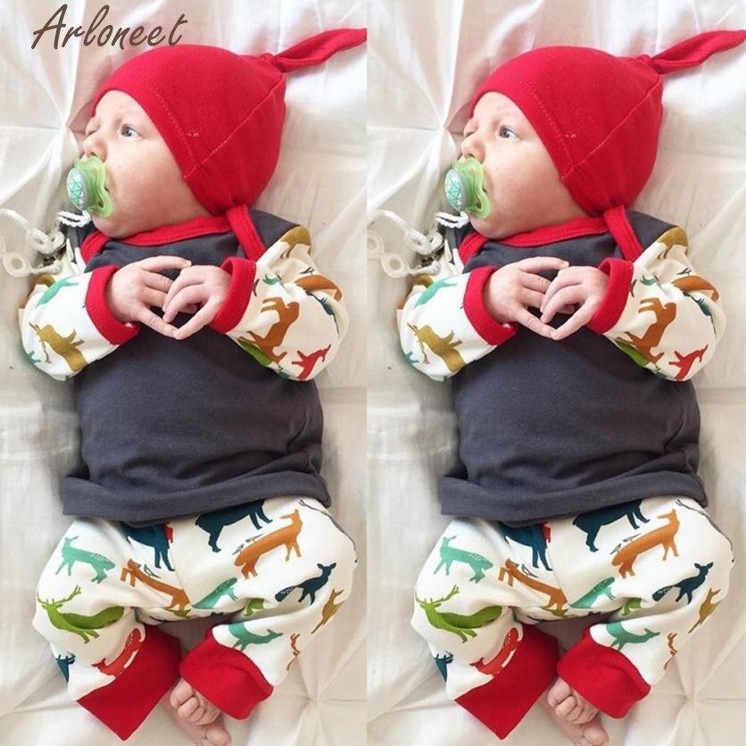 Arloneet милый детская одежда дети Обувь для девочек Одежда для мальчиков футболка Брюки для девочек мультфильм шляпа 3 шт. комплекты для малыше...