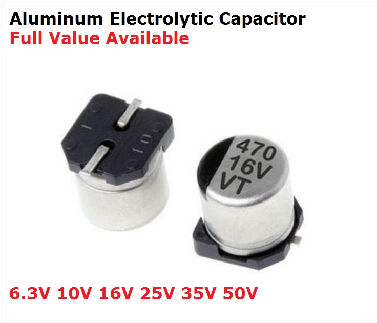 10pc 35V 47UF <font><b>10UF</b></font> 22UF 100UF 150UF 220UF 470UF 1000UF 330UF 2200UF 10V 16V 25V <font><b>50V</b></font> <font><b>SMD</b></font> Aluminum electrolytic capacitor image