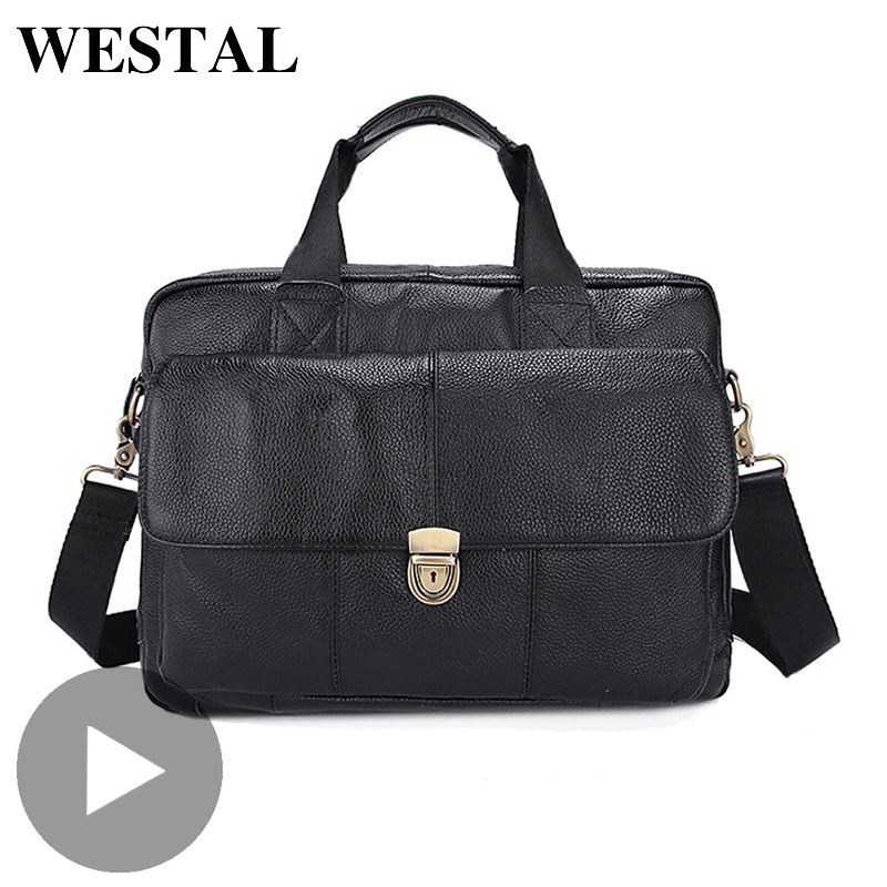 Westal Office Business Messenger Women Men Bag Genuine Leather Briefcase For Document Shoulder Handbag Male Female Laptop Retro