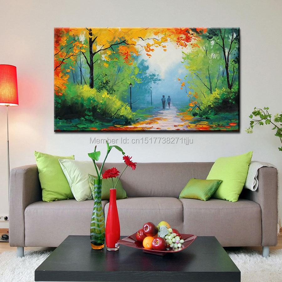 Modern Forest House: Large Canvas Art Cheap Modern Handmade Green Spring
