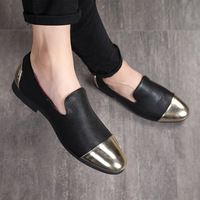 2018 New Men's Formal Shoe Metal Toe Metal Heel Bright Red Color High Quality Skin Shoes Prom Banquet Men Loafers