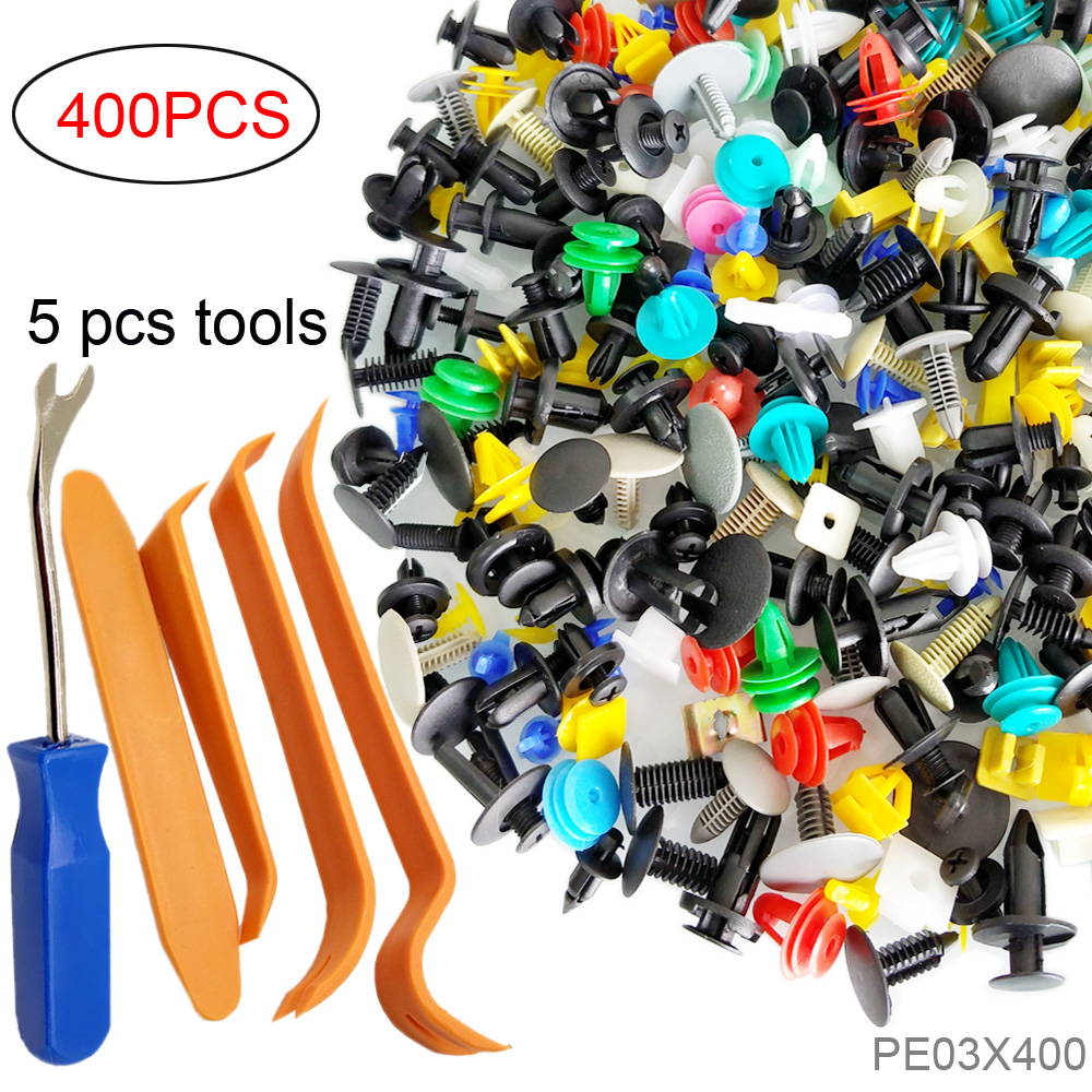 CNIKESIN 400PCS Mixed Fastener Door Panel Rivet Nylon Clips Car Bumper Retainer Fixed Auto Engine Fender Fastener Clip And Tools 50pcs white square auto fasteners auto bumper fastener rivet retainer clips push engine cover fender car door trim panel clip