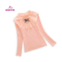 Girls T-shirts Solid Cotton Long Sleeve Shirts 2018 Spring Autumn Kids Clothes Casual Girls Lace T-shirts Tops 4 6 8 10 12 Years