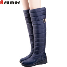 ASUMER 2016 new arrive keep warm snow boots fashion thick fur platform knee high winter boots for women shoes drop shipping