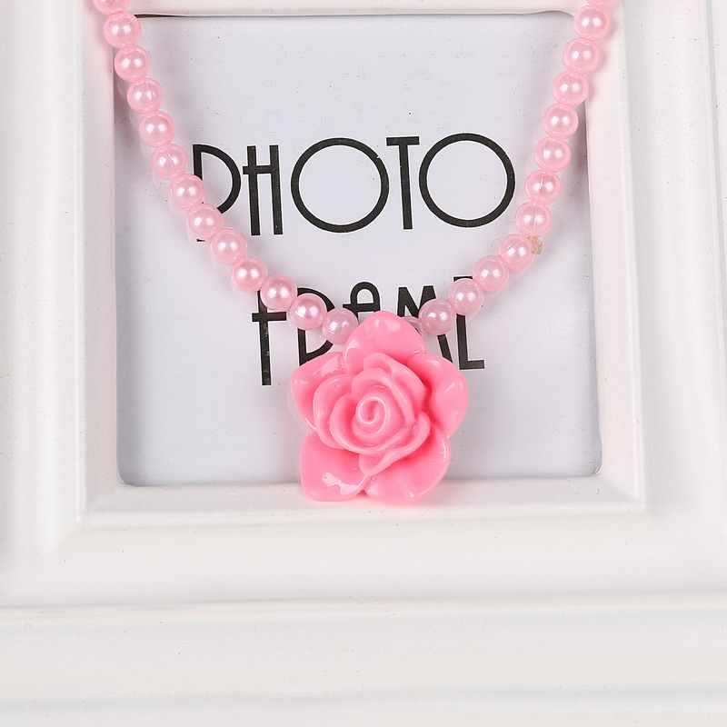 2017 New Pink Imitation Pearls For Girls Children Flower Pendant Necklaces Bracelets Rings Sets Wholesale Cheap Price Gifts