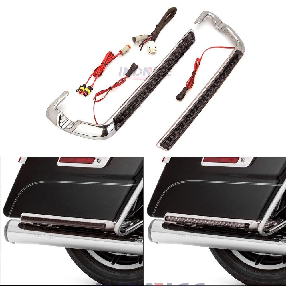 Для Harley Street glide FLHX седельная сумка боковые оптические линзы дымовая седельная сумка боковой маркер серые огни Electra Glide FLHTCU 2014 2018
