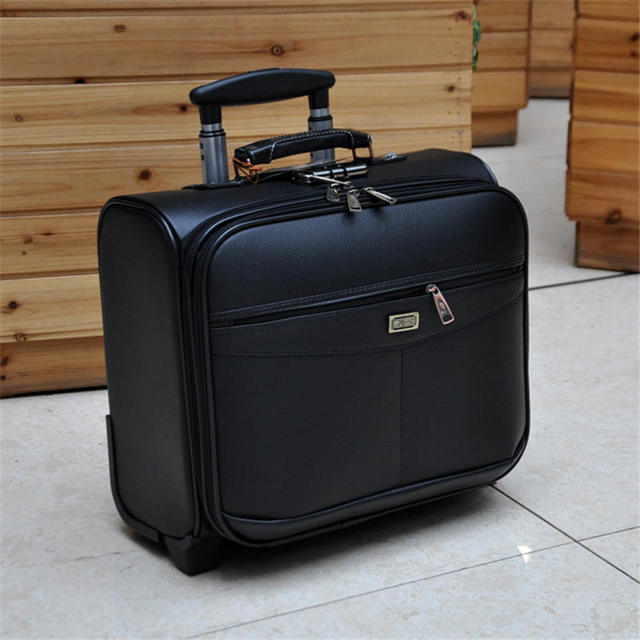BeaSumore 16 inch PU Leather Business Rolling Luggage Spinner Cabin Wheels Suitcase Student Travel Bag Women Men Carry On Trunk