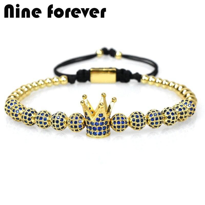 Neun für immer blau crown charms Armband männer schmuck Flechten Macrame perlen Armbänder für frauen pulseira masculina feminina geschenke