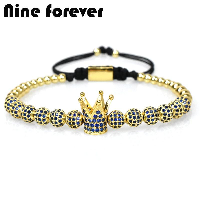 Nove para Sempre Encantos da Coroa Pulseiras para Mulheres Azul Pulseira Homens Jóias Trança Macrame Beads Masculina Feminina Presentes
