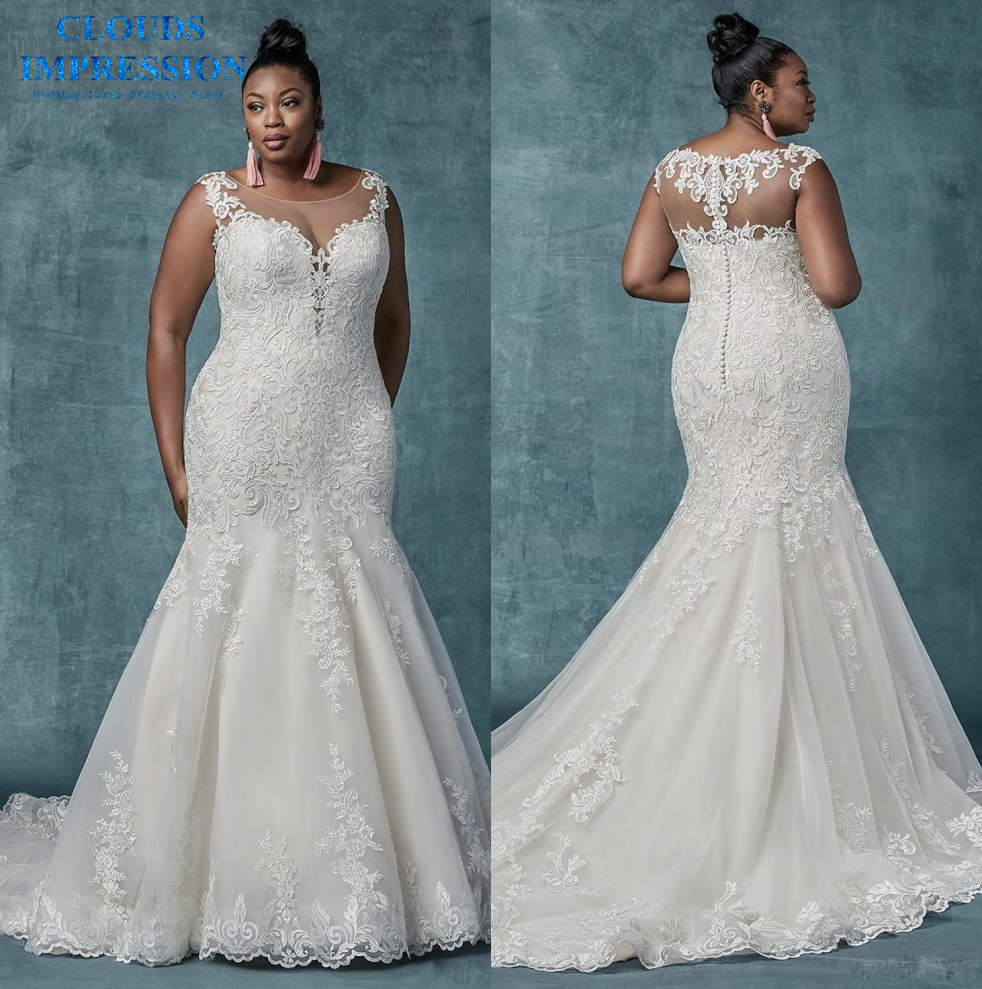 CLOUDS IMPRESSION Romantic 2019 Lace Mermaid Wedding Dress