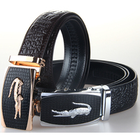 Hot Sale Mens Cowhide Belt 100 Cowskin Fashion Crocodile Texture Belts Automatic Belt Buckles Size Adjustable