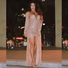BKLD Woman 2 Pieces Sets Outfits 2019 New Summer Bodycon 2 Piece Mini Dress And Long Coat Sequin Two Piece Set Sexy Club Outfits
