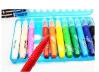 Frete grátis lápis rotativo pintura a óleo vara crayon criança pintura criança escova papelaria 12 set cor diferente