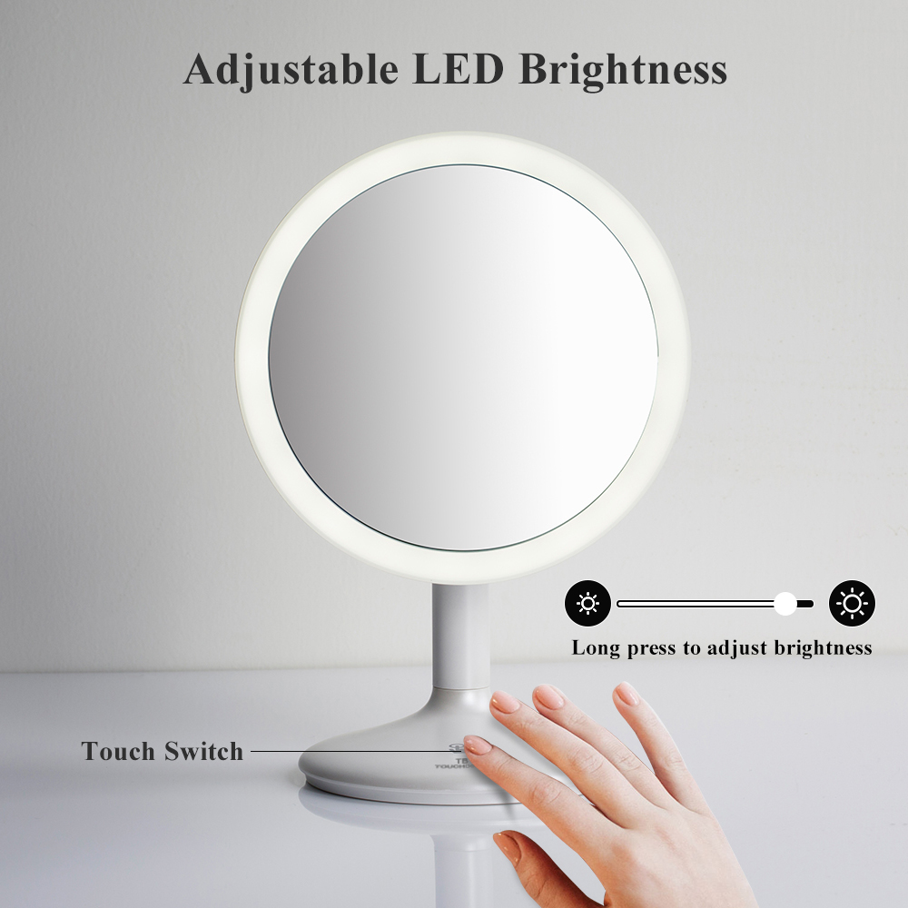TOUCHBeauty Personal 5X Lighted Makeup Mirror 90 Degree Swivel Touch Screen Dimmable Lighted Vanity Mirror Rechargeable TB-1676
