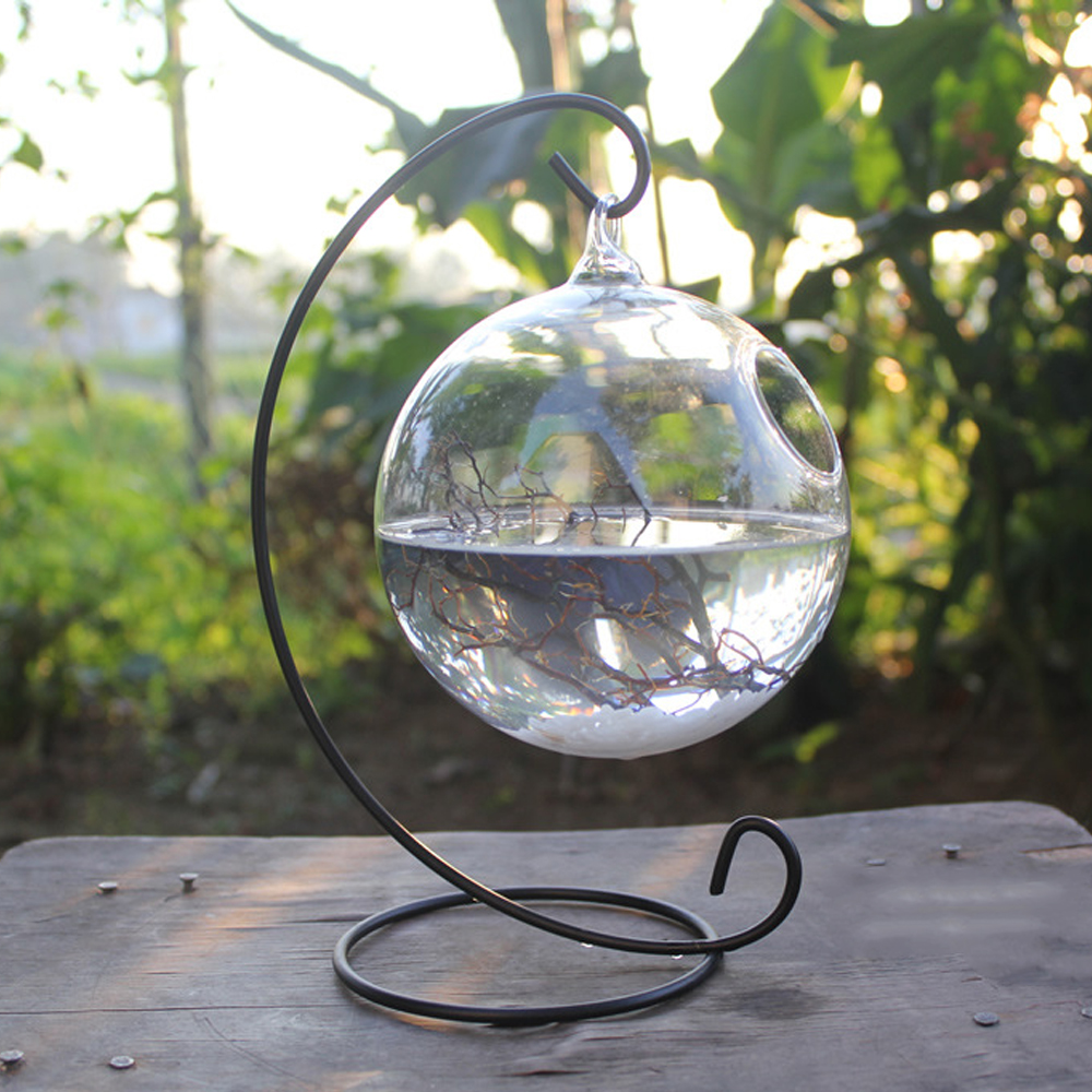 Clear <font><b>Round</b></font> Shape Hanging Glass <font><b>Aquarium</b></font> Fish Bowl Fish Tank Flower Plant Vase Home Decoration with 28cm Height Rack Holder image