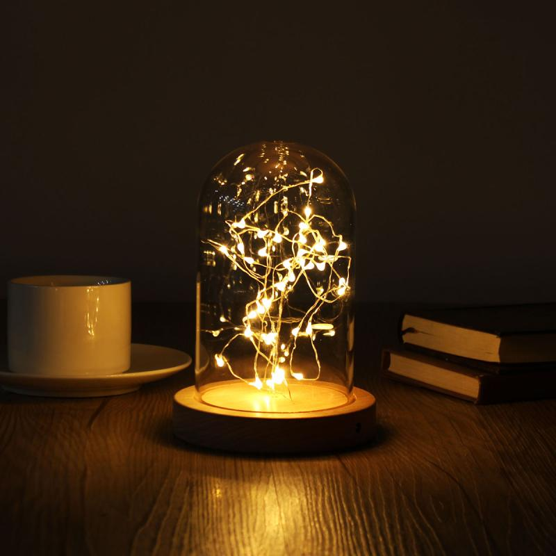 9x15cm Glass Dome Night Light Bell Jar Display Wooden Base LED Warm Light Bedside Table Lamp +40 Lamp Heads Starry String Lights novelty wooden base night lights table lamps desk bedside lamp for home decor starry led night light lamp for christmas gifts