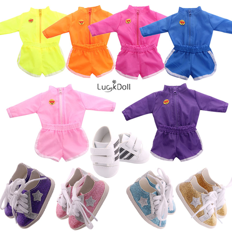 6 Colors Sportswear(2Pcs) And 9 Styles Shoes Match Fit 18 Inch American&43 CM Baby Doll Clothes Accessories,Girl,Toys,Generation