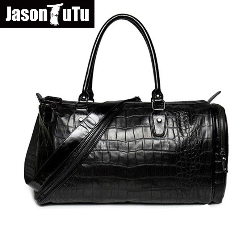 35ad27d557264 JASON TUTU erkek haberci çanta PU Deri Timsah Yüksek kapasiteli seyahat çantası  Çanta & Crossbody çanta Siyah Serin Bez Çantalar B179