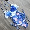 ZMTREE 2017 Newest Sexy High Cut One Piece Swimsuit Swimwear Women Bathing Suit Bodysuit Beachwear Bandage