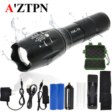 LED Rechargeable Flashlight XMLT6 linterna torch 4000 lumens Outdoor Camping Powerful Led Flashlight set with 18650 charger led flashlight xml t6 linterna torch 5000 lumens outdoor camping powerful led flashlight waterproof 18650 usb charger holder