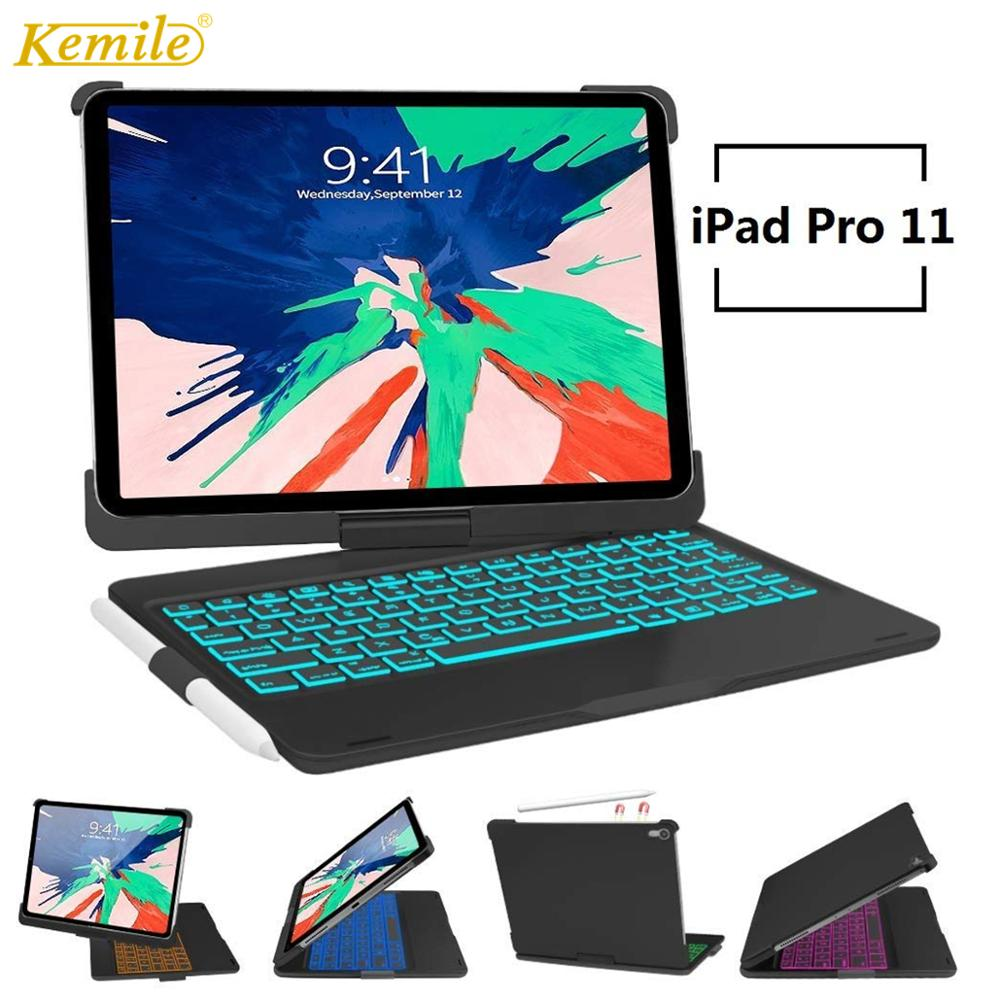 Keyboard Case for iPad Pro 11 inch 2018 A1979,Magnetic Flip Cover W Pencil Holder Smart stand Case For iPad Pro 11 inch Keyboard