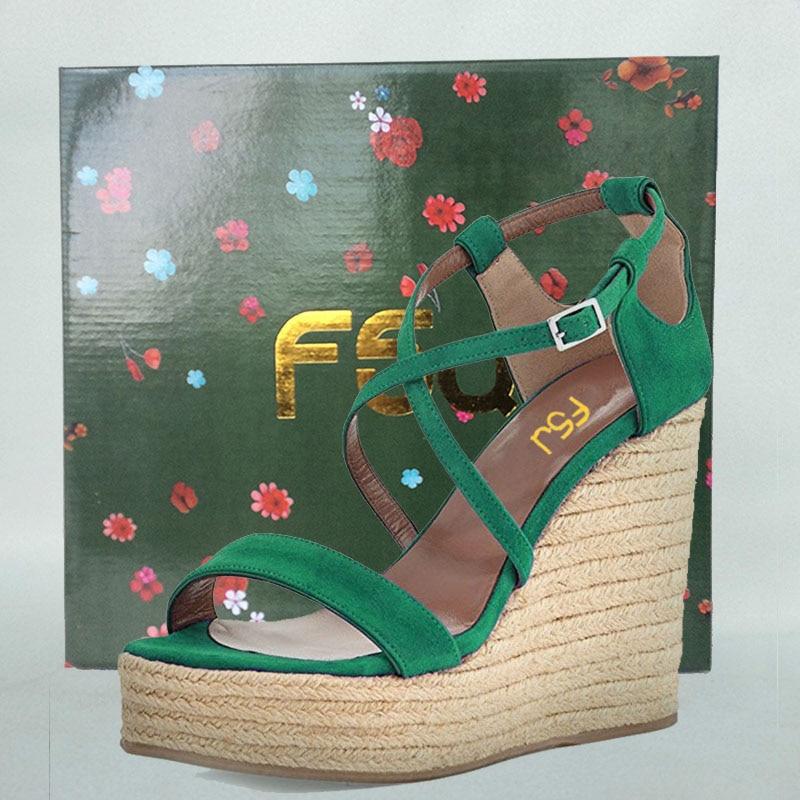 Cales Plate up D'été Femmes Talons forme Fsj De Mode Haute Chaussures Fsj01 2018 Boucle Dames fsj02 La Plus Taille 16 Fenty Dentelle Sexy Sandales Vert dq0OnE4n