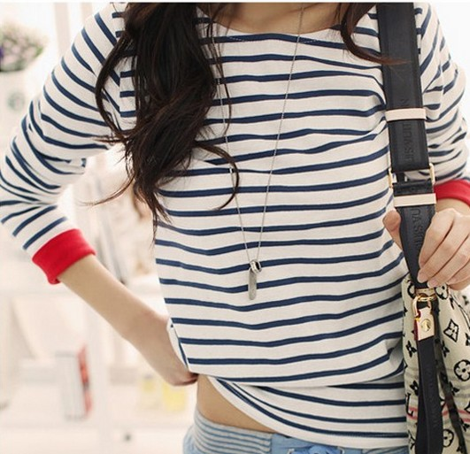 2015 New Tops Tee Kvinnor Mode O-Neck Långärmad Höst Bomull T-shirt Casual Striped Lös T-shirt Blusas Femininas