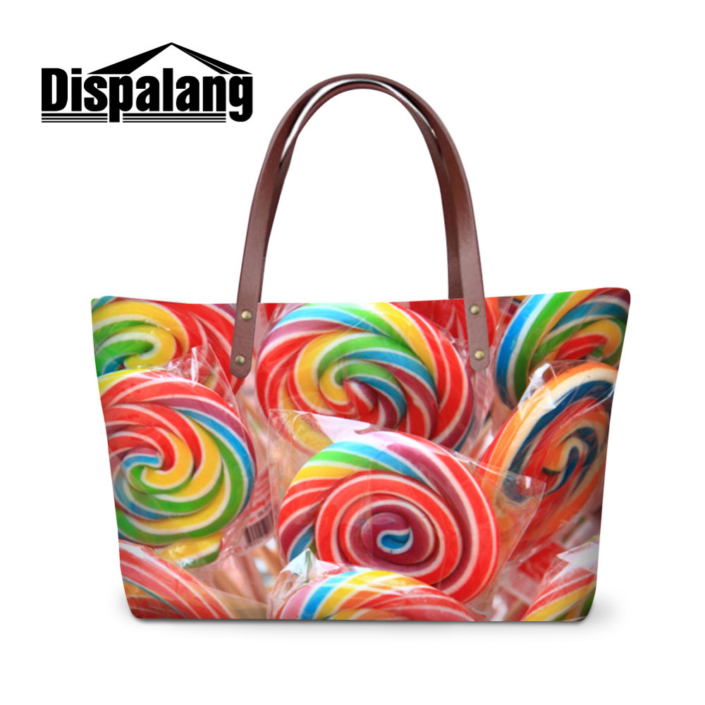 Dispalang Large Women Bag Lovely Candy Print Handbag Fashion Big Tote Bag Ladies Shopping Bag Girls Holiday Travel Shoulder Bags