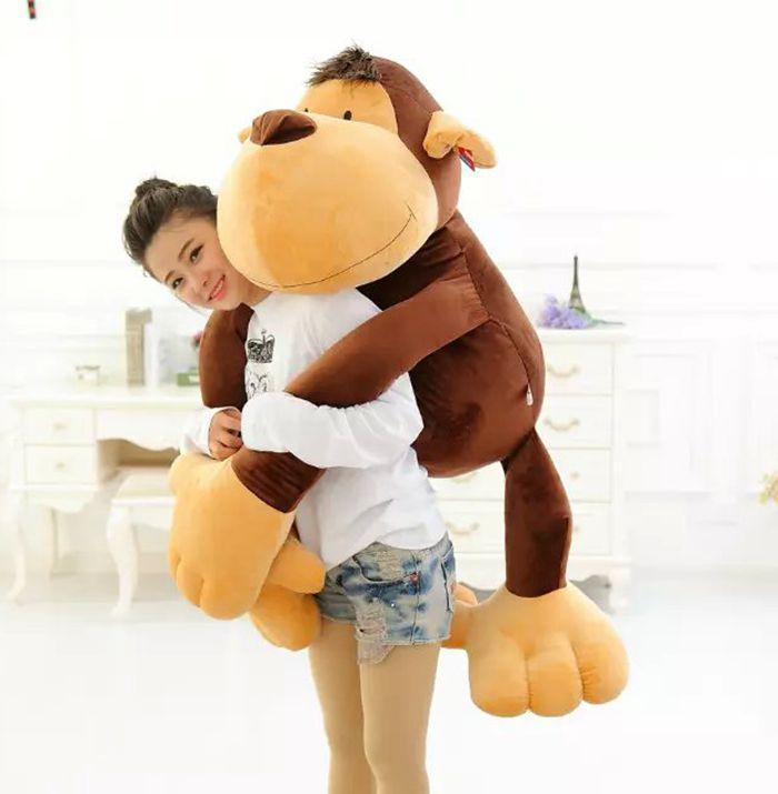 Énorme 130 cm belle singe en peluche jouet, long arms singe, orang-outan huging oreiller, décoration de la maison anniversaire surprise cadeau h2995
