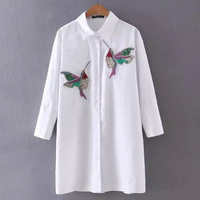 Women Embroidered Hummingbirds Sequins Long Sleeve Blouse Tops Shirt In Solid Color 2016 New Summer Season