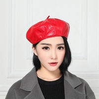 2018 New Winter Fashion Genuine Leather Sheepskin Cap Painter Beret All match Female Star Real Cowhide Hat Women