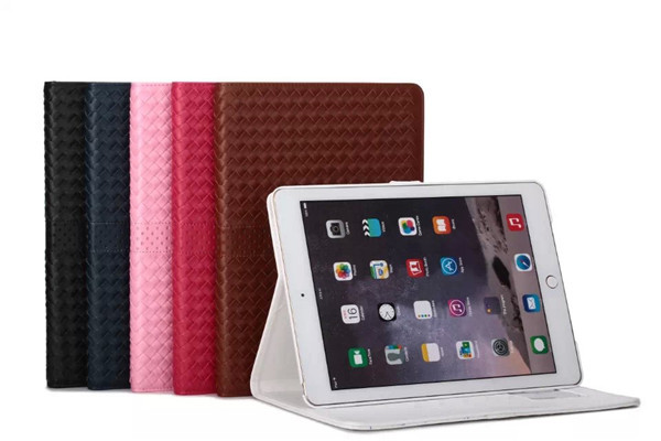 Fashion Air 2 woven pattern Flip Stand PU Leather Case For apple iPad air 2 Magnet Case +screen protectors