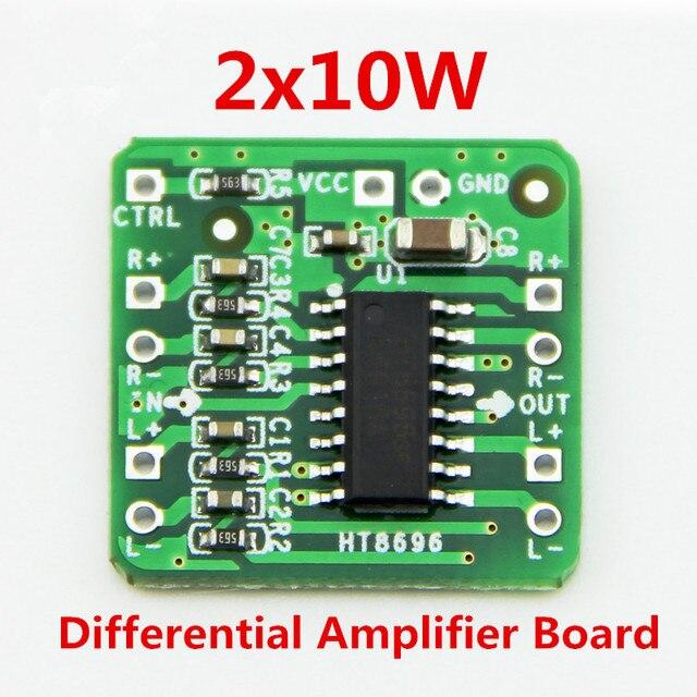 Differential Amplifier Board 2x10W Digital Class D Audio Power Amplifier HT8696 Differential Input 3.6 ~ 8.5V