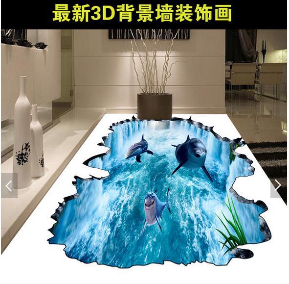 ФОТО 3d wallpaper custom 3d flooring painting wallpaper murals 3D waterfall dolphin floor painting wall 3d living room photo wallpaer