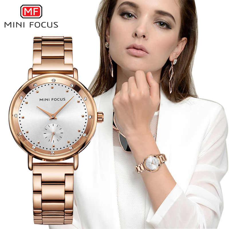 2017 Fashion Ladies Clock Rose Gold Bracelet Women Wrist Watch Stainless Steel Famous Luxury Female Watches With Rhinestone stylish 8 led blue light digit stainless steel bracelet wrist watch black 1 cr2016